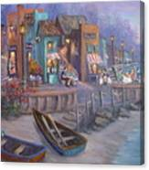 Italy Tuscan Decor Painting Seascape Village By The Sea Canvas Print