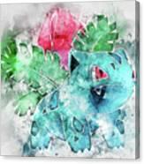 Pokemon Ivysaur Abstract Portrait - By Diana Van Canvas Print