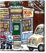 J J Joubert Vintage Milk Truck At Marvin's Grocery Montreal Memories Street Hockey Best Hockey Art Canvas Print