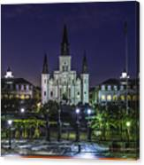 Jackson Square And St. Louis Cathedral At Dawn, New Orleans, Louisiana Canvas Print