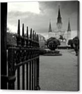 Jackson Square Gate With St. Louis Cathedral And Storm Clouds Canvas Print