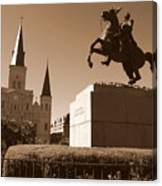 Jackson Square In New Orleans - Sepia Canvas Print