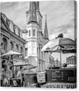 Jackson Square Scene New Orleans - Bw  Canvas Print