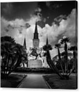 Jackson Square Sunrise In Black And White Canvas Print