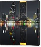 Jacksonville Black Night Lights Canvas Print
