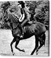 Jacqueline Kennedy, Riding A Horse Canvas Print