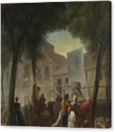 Jacques De Saint Aubin   A Street Show In Paris Canvas Print