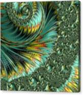 Jade And Yellow Fractal Spiral Canvas Print