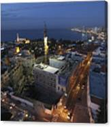 Jaffa At Night Aerial View Canvas Print