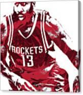 James Harden Houston Rockets Pixel Art 3 Canvas Print