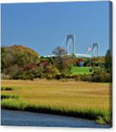 Jamestown Marsh With Pell Bridge Canvas Print