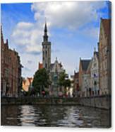Jan Van Eyck Square With The Poortersloge From The Canal In Bruges Canvas Print