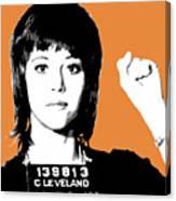 Jane Fonda Mug Shot - Orange Canvas Print