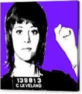 Jane Fonda Mug Shot - Purple Canvas Print