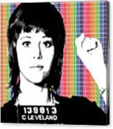 Jane Fonda Mug Shot - Rainbow Canvas Print
