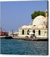 Janissaries Mosque And Caique In Chania Canvas Print