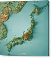 Japan 3d Render Topographic Map Border Canvas Print