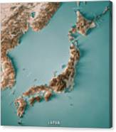 Japan 3d Render Topographic Map Neutral Border Canvas Print