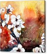 Japanese Cherry Blossom Abstract Flowers Canvas Print