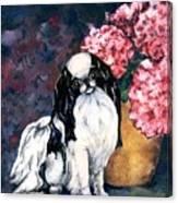 Japanese Chin And Hydrangeas Canvas Print