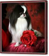 Japanese Chin And Rose Canvas Print