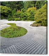 Japanese Flat Garden With Checkerboard Pattern Canvas Print