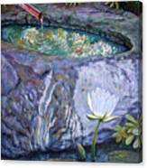 Japanese Fountain With Lily Canvas Print