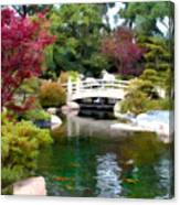 Japanese Garden Bridge And Koi Pond Canvas Print