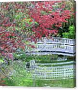 Japanese Garden Bridge In Springtime Canvas Print