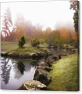 Japanese Garden In Early Autumn Fog Canvas Print