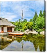 Japanese Garden In Park With Tower Canvas Print