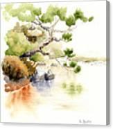 Japanese Garden Pond Sketch Canvas Print