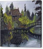 Japanese Garden With Bridge Canvas Print