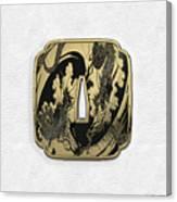 Japanese Katana Tsuba - Golden Twin Dragons On Black Steel Over White Leather Canvas Print