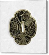 Japanese Katana Tsuba - Golden Twin Koi On Black Steel Over White Leather Canvas Print