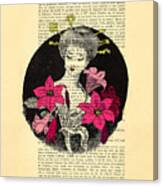 Japanese Lady With Cherry Blossoms Canvas Print
