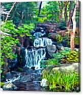 Japanese Waterfall Garden Canvas Print
