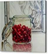 Jar Of Cherries Canvas Print