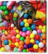 Jar Spilling Bubblegum With Candy Canvas Print