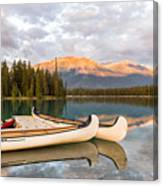 Jasper Lake Canoes Canvas Print