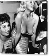 Jayne Mansfield Hollywood Actress And, Italian Actress Sophia Loren 1957 Canvas Print