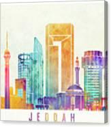 Jeddah Landmarks Watercolor Poster Canvas Print