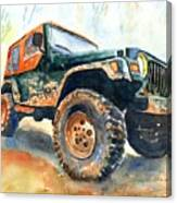 Jeep Wrangler Watercolor Canvas Print