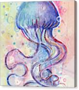 Jelly Fish Watercolor Canvas Print