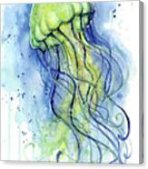 Jellyfish Watercolor Canvas Print