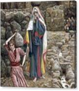 Jesus And His Mother At The Fountain Canvas Print