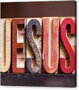 Jesus - Antique Letterpress Letters Canvas Print