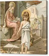 Jesus As A Boy Playing With Doves Canvas Print