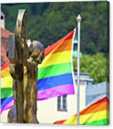 Jesus Christ Crucifixion And Gay Pride Flags View Canvas Print