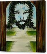 Jesus Face In Vines Canvas Print